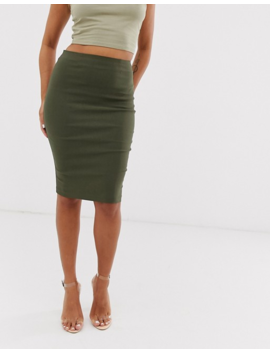 Asos Design Petite High Waisted Pencil Skirt In Khaki by Asos Design