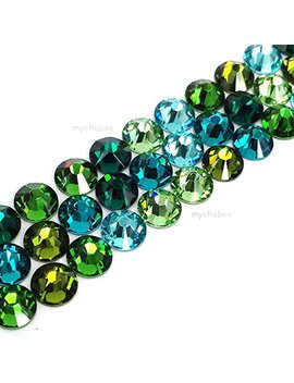 144 Swarovski 2058 Xilion / 2088 Xirius Rose Crystal Flat Backs No Hotfix Rhinestones Green & Teal Colors Mix Ss20 (4.7mm) by Crystal Wholesale