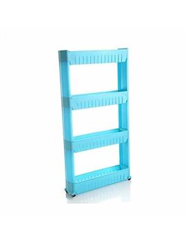 Slim Slide Out Kitchen Trolley Rack Holder Storage Shelf Organiser Moving Wall Cabinets Tower Holder Rack On Wheels 3 Tier & 4 Tier,Blue,4 by Mrxue