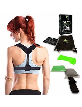 Posture Corrector For Women & Men   Comfortable, Effective & Adjustable Clavicle Brace With Underarm Pads   Best Support For Upper Back Pain And Hunchback Correction   Includes... by Kinetic Sports