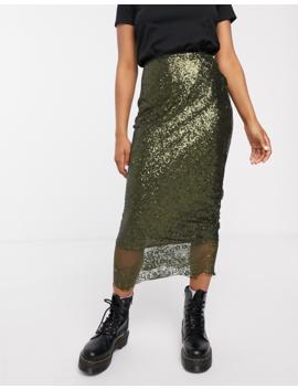 Asos Design Embellished Slip Midi Skirt With Lace Hem by Asos Design