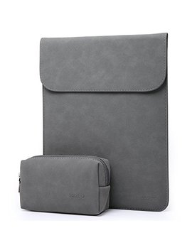Hyzuo 13 Inch Laptop Sleeve Water Repellent Bag Cover Compatible With 2018 Mac Book Air 13 A1932/Mac Book Pro 13 Retina 2016 2017 2018/ Surface Pro 6 5 4/ Dell Xps 13 With Small Case, Faux Suede Leather by Hyzuo