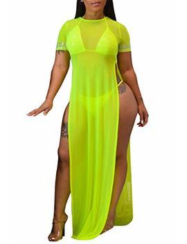 Per Zeal Women's Sexy Swimsuit Beach Bikini Cover Up Sheer Crochet Plus Size Maxi Dresses by Per Zeal