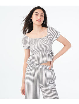 Stripe Smocked Crop Top by Aeropostale