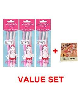 Ft Shiseido Facial Razor 3pcs(L) X 3 Pack (Total 9 Pcs) Value Set With Premium Oil Blotting Paper by Shiseido