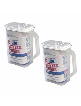 2 Pack Food Storage Container 4 Qt Flour Sugar Keeper Pour N' Store With Handle by Buddeez