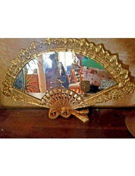 Hollywood Regency Ornate Brass Ladies Boudoir Mirror Victorian Fan Shape by Ebay Seller