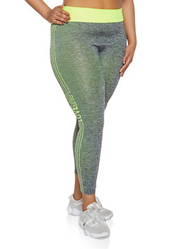 Plus Size Marled Contrast Trim Love Active Leggings by Rainbow