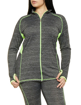 Plus Size Zip Front Activewear Sweatshirt by Rainbow