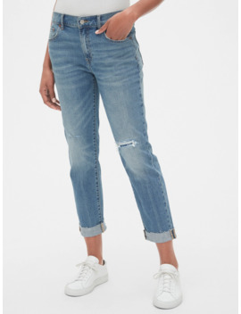 Mid Rise Rip & Repair Girlfriend Jeans by Gap