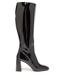 Square Toe Knee High Patent Leather Boots by Prada