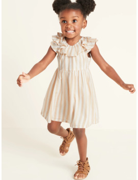 Striped Double Ruffled Fit & Flare Dress For Toddler Girls by Old Navy