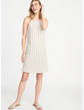 Striped Linen Blend Square Neck Shift Dress For Women by Old Navy