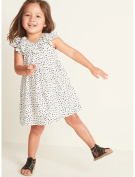 Printed Double Ruffle Fit & Flare Dress For Toddler Girls by Old Navy