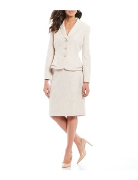 Embellished Button Floral Jacquard Peplum Jacket 2 Piece Skirt Suit by John Meyer