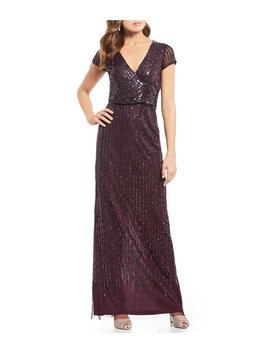 Sequin Surplice V Neck Blouson Gown by Adrianna Papell