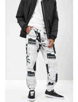 Newspaper Print Fleece Joggers by Forever 21