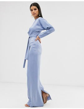 Asos Design Tall Maxi Dress With Batwing Sleeve And Wrap Waist In Satin by Asos Design