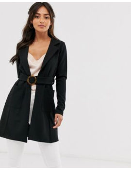 Boohoo O Ring Belted Jacket In Black by Boohoo