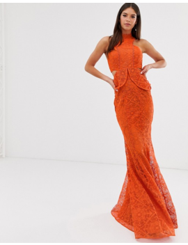 Asos Design Tall High Neck Lace Maxi Dress With Cut Outs And Fishtail Hem by Asos Design