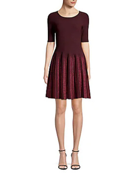 Lurex Pleated Fit & Flare Dress by Milly