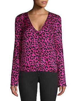 Leopard Print Silk Jacquard Blouse by Milly