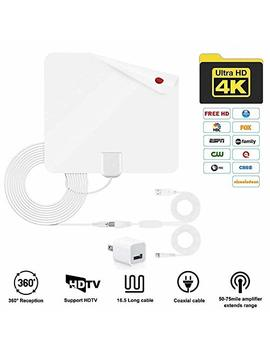 Telustyle Tv Antenna, Indoor Digital Amplified Hdtv Antennas 50 80 Miles Range With Detachable Signal Amplifier, Ul Adapter And 16.5 Ft Longer Coax Cable   Support 4 K 1080p (White) by Telustyle
