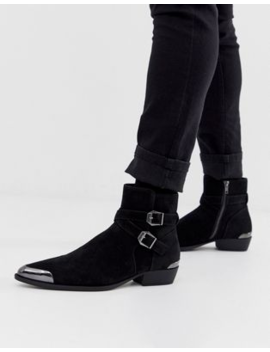 Asos Design Cuban Heel Western Chelsea Boots In Faux Black Suede With Buckle Detail by Asos Design