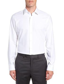 Tech Smart Trim Fit Stretch Herringbone Dress Shirt by Nordstrom Men's Shop