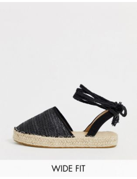 Truffle Collection Wide Fit Woven Tie Leg Espadrilles by Asos