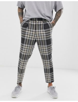 Asos Design Tapered Crop Smart Trousers In Grey Wool Mix Check by Asos Design