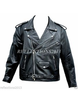 Mens Brando Jacket Leather Biker Riders Motorbike Touring Leather Scooter Jacket by Unbranded