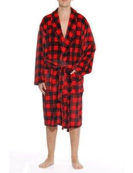 #Followme Printed Plaid Velour Flannel Robe Robes For Men by %23followme