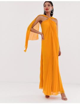 Asos Design Halter Trapeze Maxi Dress In Pleat by Asos Design