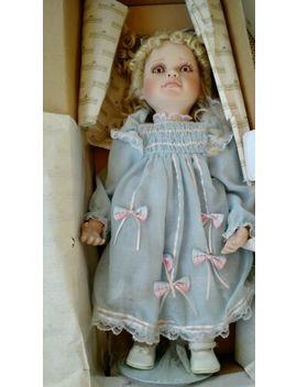 "Alexis Numbered Porcelain Doll Hamilton Collection Blue Dress 19"" 1996 by Ashton Drake"