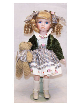 Porcelain Little Girl Doll With Teddy Bear In Matching Outfits. by Ebay Seller