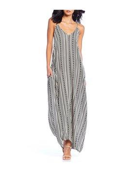 Printed Sleeveless V Neck Maxi Slip Dress by Elan