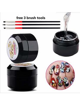 Nail Art 8ml Rhinestone Glue Gel Adhesive Resin Gem Jewelry Diamond Polish Clear Decoration With Pen Tools (Uv Light Cure Needed) Thicker&More Sticky... by Gadgets Entrepot