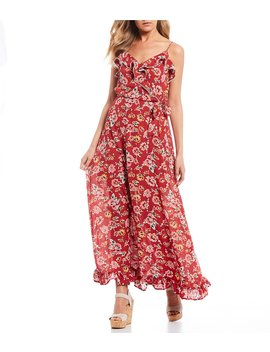 Spaghetti Strap Ruffle Floral Maxi Dress by City Vibe