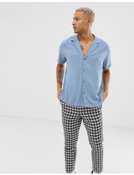 Asos Design Relaxed Viscose Shirt With Low Revere Collar In Blue by Asos Design