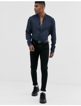 Asos Design Regular Fit Satin Shirt With Stand Collar In Navy by Asos Design