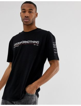 Good For Nothing Oversized T Shirt In Black With Chest Logo by Good For Nothing