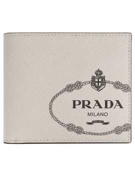 Logo Print Billfold Wallet by Prada