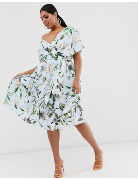 Asos Design Curve Fallen Shoulder Prom Dress With Tie Detail In Floral Print by Asos Design