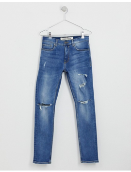 New Look Skinny Jeans With Busted Knee In Light Blue Wash by New Look