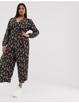 Glamorous Curve Wide Leg Jumpsuit With Tie Front In Bird Floral by Glamorous