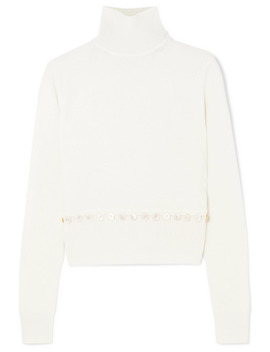 Convertible Button Detailed Wool Turtleneck Sweater by Alexander Mc Queen