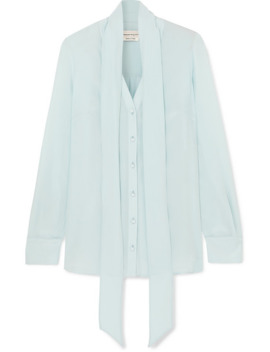 Pussy Bow Silk Crepe De Chine Blouse by Alexander Mc Queen