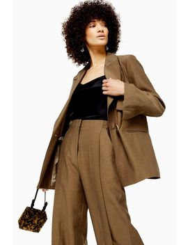 Dark Camel Raw Hem Suit by Topshop
