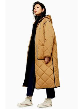 Longline Brown Parka by Topshop